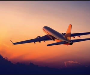 airplane, travel, and sunset image