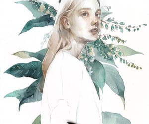 girl, watercolor, and white image