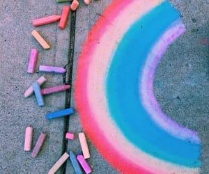 rainbow, art, and blue image