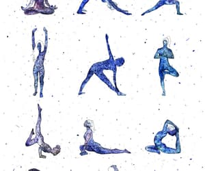 art, yoga, and blue image
