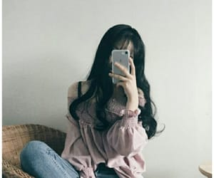 aesthetic, asian girl, and blue image