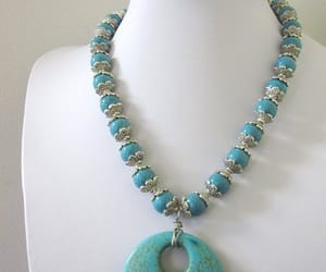etsy, turquoise necklace, and chunky necklace image