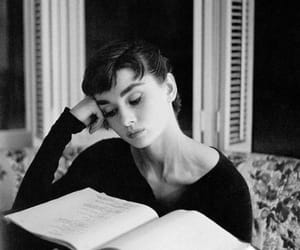 audrey hepburn, book, and black and white image