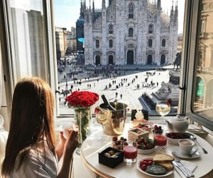 travel, breakfast, and milan image