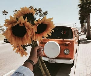 car, flowers, and hand image