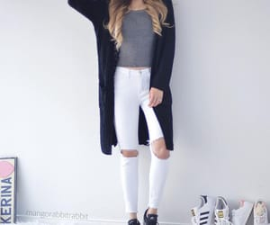 cardigan and white ripped jeans image