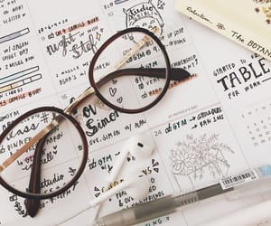 glasses, handwriting, and handlettering image