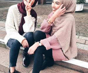 girl, hijab, and friends image