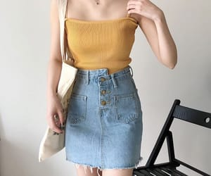 style, fashion, and jean skirt image