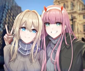 zero two, violet evergarden, and darling in the franxx image