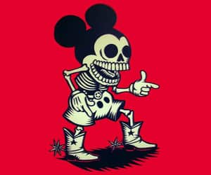 wallpaper, death, and mickey mouse image