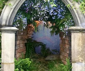 garden, arch, and flowers image