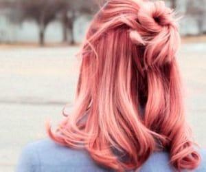 hair, pink, and half bun image