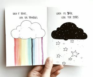 rainbow, stars, and clouds image