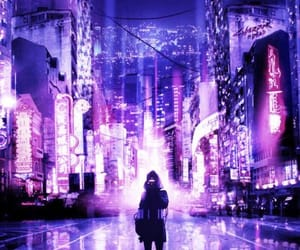 city, cyberpunk, and light image