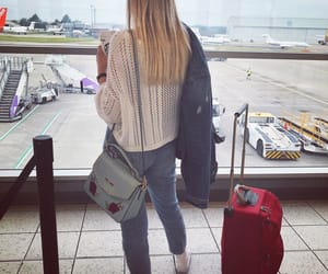 airport, blonde, and plane image