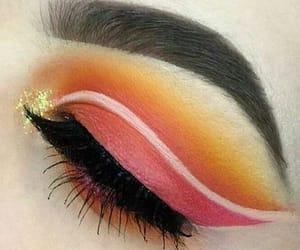 beauty, eye makeup, and orange image