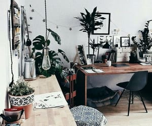 desk, office, and plants image