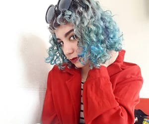 blue hair, curly hair, and indie image