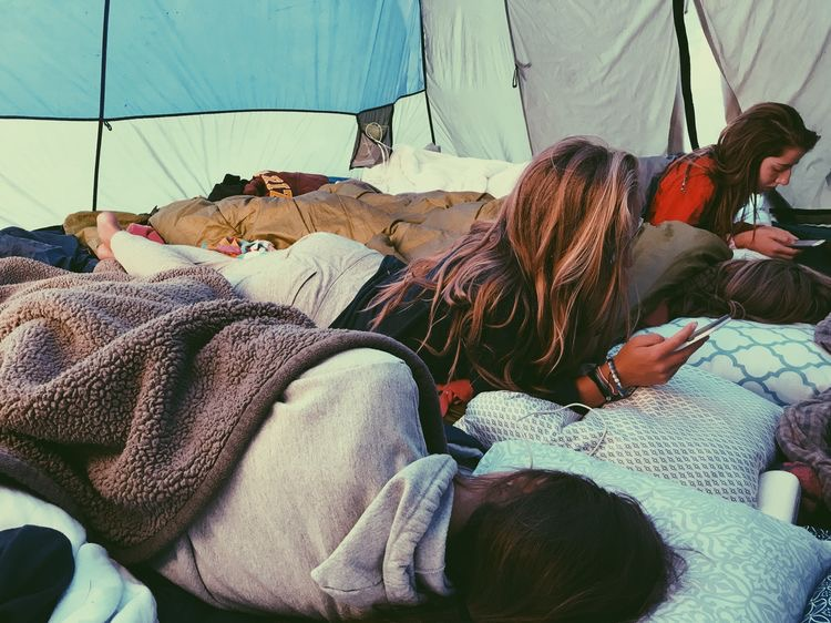 camping, friends, and girls image