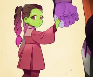 gamora, thanos, and infinity war image