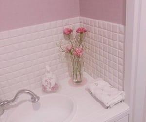 aesthetic, pink, and bathroom image
