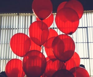 red, balloons, and aesthetic image