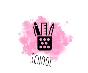 black, pink, and school image