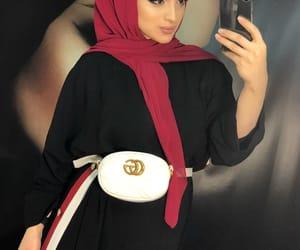 beauty, hijab, and gucci bag image