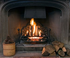 fire, fireplace, and warm image