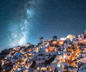 Greece, night, and santorini image