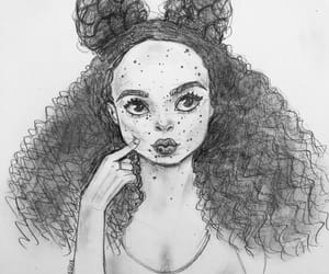 Afro, girl, and pencil art image
