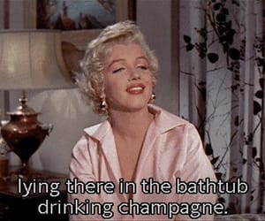 Marilyn Monroe, vintage, and champagne image
