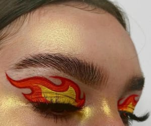beauty, eyes, and fire image