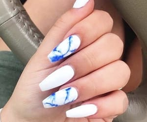 nails, white and blue, and white nails image