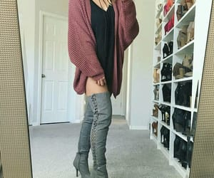 negro, botas largas, and outfit image