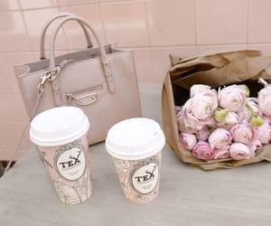bag, coffee, and flowers image