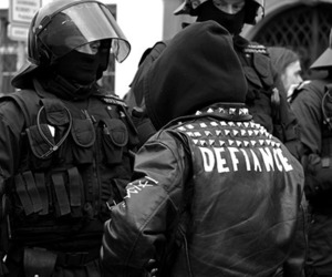 police, defiance, and black and white image