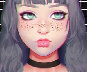 anime, choker, and freckles image