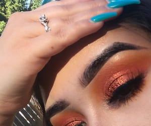 summer, orange glitter, and bombnails image