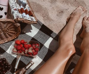 girl, strawberry, and legs image
