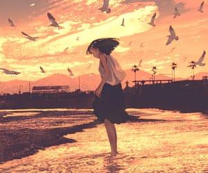 art, girl, and ocean image