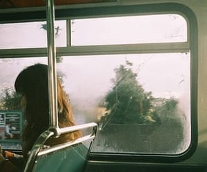 girl, bus, and vintage image