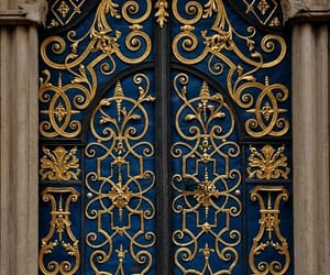 door, gold, and blue image