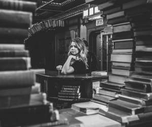 black and white, books, and bookstore image