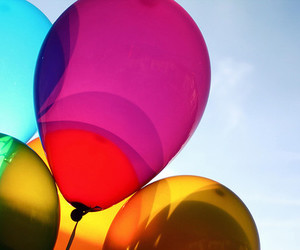 balloons, colorful, and sky image