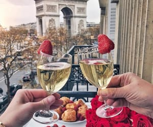 champagne, flowers, and paris image