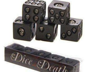black, dice, and skull image