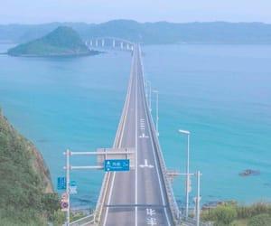 road, blue, and sea image