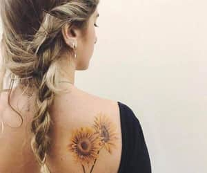braids, style, and sunflowers image